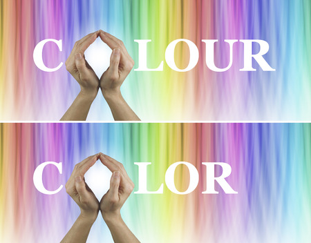 color healing: Color Healing Therapy Website Banners x 2  -  Female hands making the O of COLORCOLOUR on a rainbow colored subtle striped wide background Stock Photo