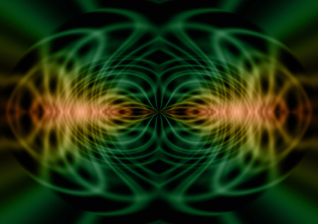 Geometric Pareidolia  - green and orange lines forming a geometric symmetrical pattern with the appearance of either an alien or reflected insects on a black background