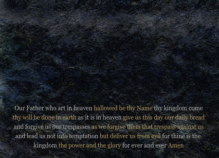 hallowed: The Lords Prayer Message Board - large empty expanse of black rough rock effect background with a single flowing unpunctuated sentence of The Lords Prayer at the bottom in grey and gold colors
