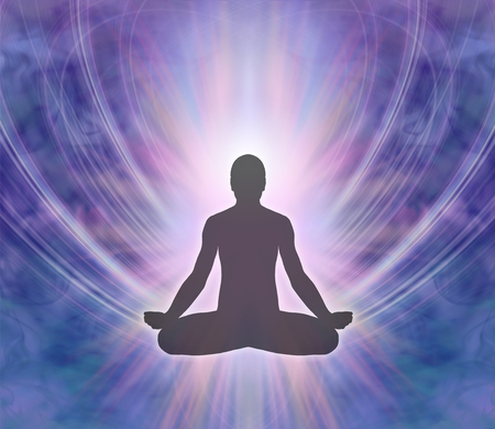 Male silhouette seated in lotus position on a purple blue energy formation background