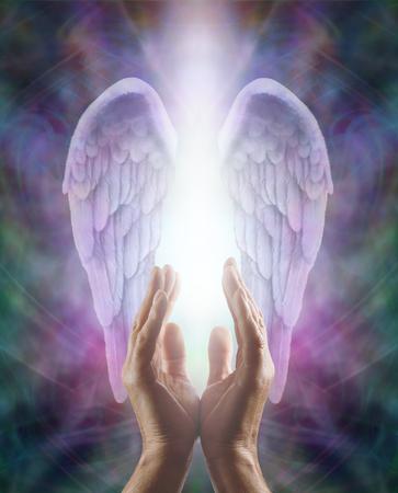 ange gardien: Mains mâles atteignant vers le haut dans une belle paire d'ailes d'ange lilas avec la lumière blanche