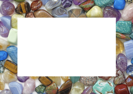 solid background: Healing Crystal Gemstone Filled Border  - A solid landscape oriented rectangle filled with multicolored tumbled stones with the center cropped out providing an empty white central background