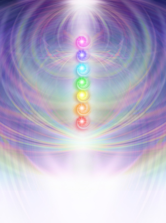 chakra energy: Seven Chakras in subtle energy field background - Symmetrical soft pastel colored intricate radiating line work background with a vertical row of seven chakra vortexes placed in center fading to white at base