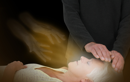 crown chakra: Spiritual Healing Session -  male healer channeling healing energy to female with the help of a spirit healing guide