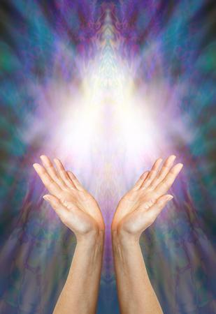 universal love: Diosa energía curativa - un par de manos femeninas que se eleva hacia una forma ligera angelical hermosa en un fondo azul y púrpura de varios colores con un montón de espacio de la copia Foto de archivo
