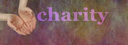 needy: Our Charity Needs your Donation - wide banner with a womans open hands cupped hands in needy gesture beside  the word CHARITY on a dark multicolored stone effect background