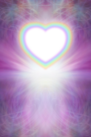 Beautiful Rainbow Heart Background - intricate pink and purple lace effect background with a burst of light and a rainbow edged heart rising up with a bright white centre Archivio Fotografico