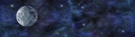 ascendant: Blue Moon Space Banner - wide website header of deep space, with a blue moon on left