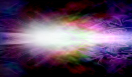 gaseous: Laser light source -  dark wide background with a gaseous multicolored light formation streaming across the middle radiating outwards