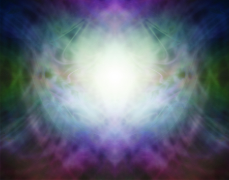 prana: Beautiful Pranic Spiritual Energy Formation Background - soft misty  light in the centre with darkness around depicting spiritual healing light ideal for a dramatic background Stock Photo