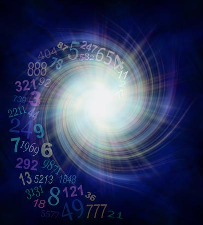 数秘術エネルギー渦 - 白い星の中心から外側に渦巻く透明な螺線形になる乱数バーストをコピー スペースたっぷり濃い青と黒の背景に 写真素材