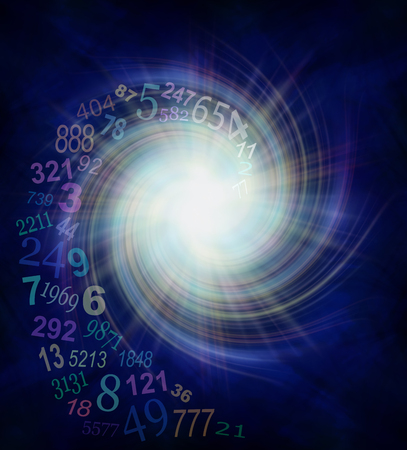 Numerology Energy Vortex - random transparent spiraling numbers swirling outwards from the center of a white star burst on a dark blue and black background  with plenty of copy space Banque d'images