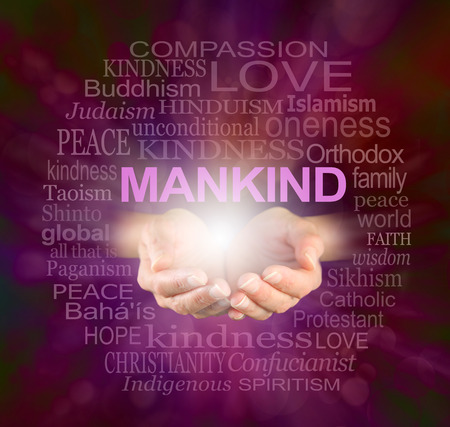 oneness: Mankind World Religions Word cloud - Female cupped hands with a ball of light and the word MANKIND floating above, surrounded by a relevant word cloud on a crackle effect ruby red background