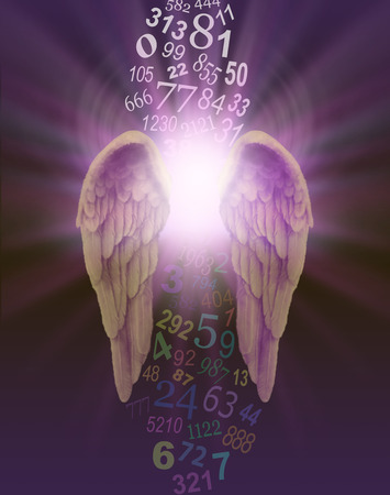 pseudoscience: Angel Numbers - a pair of angel wings with burst of divine light behind and a stream of random numbers above and below appearing to be cleansed by the light on a dark purple background