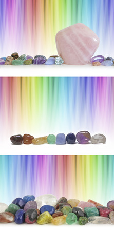 crystal therapy: Crystal therapy rainbow backgrounds - graduated blended rainbow linear backgrounds with   three different Crystal settings and plenty of copy space