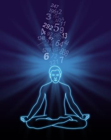 番号ストリーミング瞑想 - 彼の頭と暗い背景に王冠のチャクラに流れる乱数のストリームの背後にバースト光青蓮華座の男性の概要図