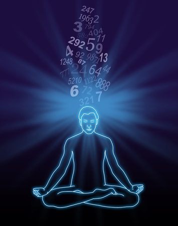 decode: Number Streaming Meditation - outline diagram of a male in lotus position with a blue light burst behind his head and a stream of random numbers flowing down into the crown chakra on a dark background Stock Photo