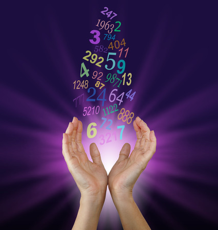 Seeking Guidance from the Numbers - Female cupped hands reaching up towards a flow of  multicolored numbers, with a burst of magenta light behind on a dark purple background