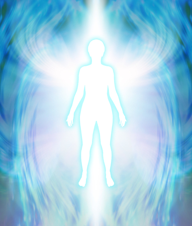 supernatural power: Angelic Aura Cleanse - white female silhouette figure with turquoise glow and delicate multi layered blue auric field radiating outwards with white wing-like formation at shoulder level