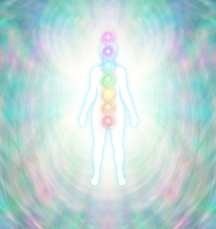 root chakra: Chakra Energy Balancing  -  Soft pastel colored energy field around a white female silhouette with a turquoise glow, with seven chakras aligned centrally from crown to root