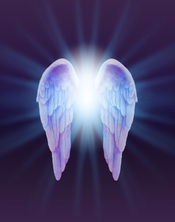 Blue and Lilac Angel Wings on a dark background - a pair of finely feathered  Angel Wings with a bright white light bursting between  radiating outwards subtle blue on a dark purple and black background Banque d'images