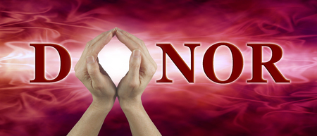 hematology: We need your blood - female hands held up to make the shape of an O in the word DONOR on a red flowing blood-like background ideal for a blood donor search campaign Stock Photo