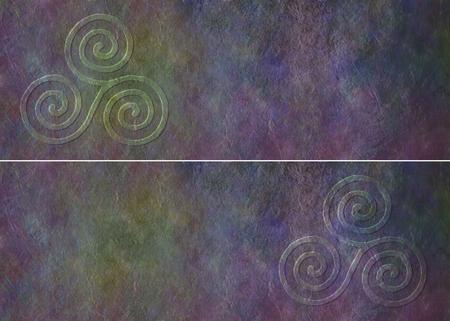 cicla: Celtic Triade bandera del Web site - dos cabeceras rústicas similares oscuros grunge cada uno con un símbolo celta espiral triple en un extremo con un montón de espacio de la copia
