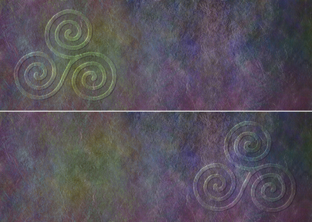 triskele: Celtic Triade Website Banner - two similar rustic dark grunge headers each with a Celtic Triple Spiral symbol at one end with plenty of copy space Stock Photo