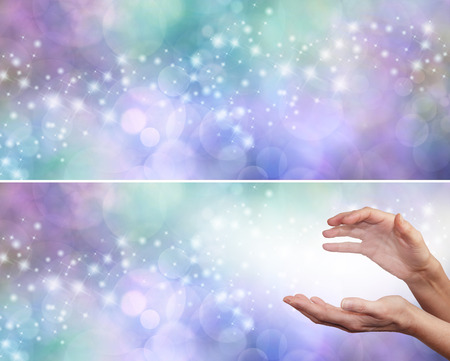 healing energy healer: Energy worker banner  -  soft lilac and green bokeh background with a stream of random sparkles trailing across and female hands with white light flowing outwards on right with copy space on left
