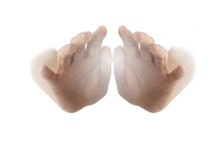 energy healing: Healing Hands on white background - female hands with palms facing outwards and a white energy orb between isolated on a white background Stock Photo