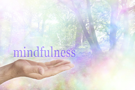 mindfulness: Mindfulness in Nature - male hand palm up with a purple MINDFULNESS word floating above and a rainbow colored bokeh effect woodland scene behind Stock Photo
