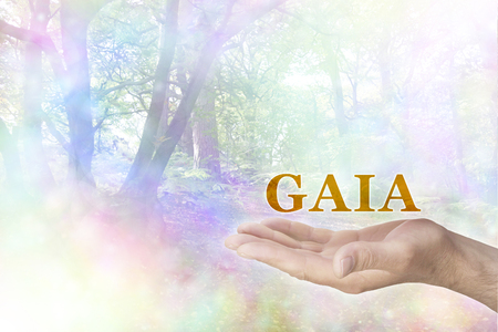 homeostasis: Embrace the GAIA Philosophy - male hand palm up with a gold GAIA word floating above and a rainbow colored bokeh effect woodland scene behind