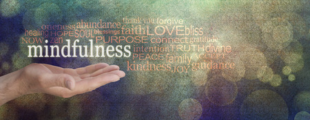 mindfulness: Mindfulness Word Cloud Grunge Banner  - male hand palm up with a white MINDFULNESS word floating surrounded by a relevant word cloud on a grainy grunge bokeh background