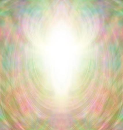 metaphysical: Golden Angel Aura - Intricate multicolored and gold background with a central white light burst shaped like an Angel Stock Photo