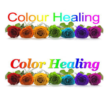 color healing: Color Healing Banner - A row of seven rose heads in red, orange, yellow, green, turquoise, indigo and magenta with a graduated rainbow colored Color Colour Healing phrase positioned above Stock Photo