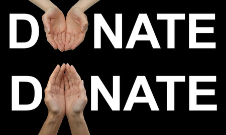 one female: Donate what you can fundraising banner x 2 - one upward facing and one downward facing version of cupped female hands in place of the O of DONATE on a black background