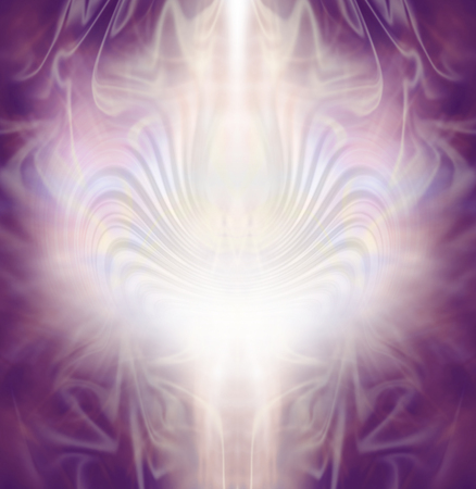 energy healing: Sacred healing background -  intricate lace-like magenta pink and pale gold colored energy formation background with a central column