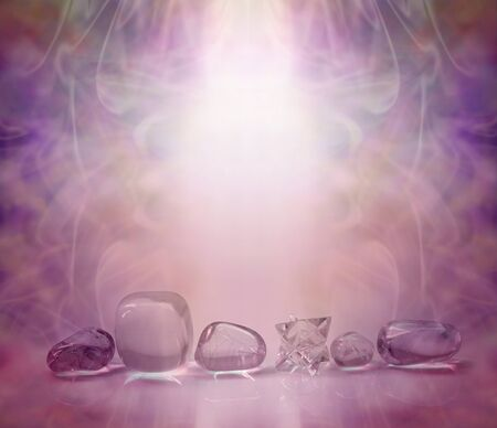 complementary therapy: Magenta Healing Crystals - single row of clear crystals and a Merkabah, bathed in a magenta energy light with a beautiful wispy background and copy space