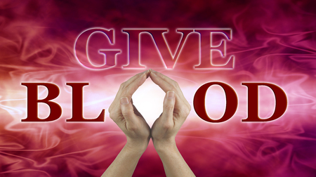 group b: World Blood Donor Day June 14 - female hands held up to make the shape of an O in the word BLOOD with GIVE above, on a red flowing blood-like background ideal for a blood donor campaign