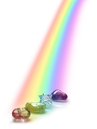 tumbled stones: Rainbow Illuminated Healing Crystals - three crystals and a Merkabah bathed in the light of a falling rainbow on a white background