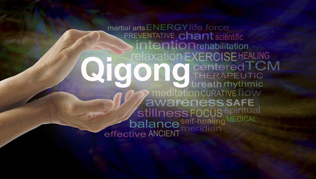 healing chi spiritual: Gigong word cloud and healing hands - female cupped hands with the word QIGONG between surrounded by word cloud on a multicolored light centered dark background Stock Photo