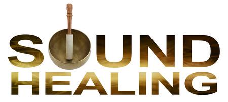 Healing Sound - Singing tibétaine Bowl faisant l'O de SOUND GUÉRISON avec or vague écoulement brun comme détail à l'intérieur des lettres isolé sur fond blanc