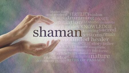 female shaman: Shaman word cloud and healing hands - female cupped hands with the word SHAMAN between lit by white light surrounded by a word cloud on a pastel colored stone effect background
