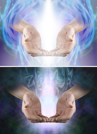 prana: Beautiful healing energy x 2 - male cupped hands with fingertips touching in a gentle offering gesture and white shaft of light between, one with dark background one with angelic formation background