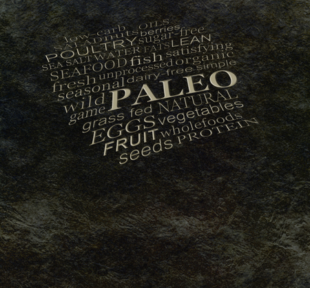 palaeolithic: PALEO diet cave wall - Dark stone cave wall effect background with etched effect PALEO word cloud and copy space below