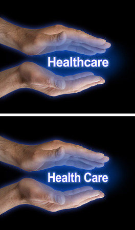 long term care services: Your Health Care is in Your Hands - two images of male parallel hands with blue glow on a black background, one with Healthcare the other with Health Care floating between Stock Photo