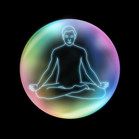 energy channels: Mindfulness Yoga Sukhasana - outline diagram of a male in crossed legged lotus position on a black background levitating inside a rainbow colored transparent bubble