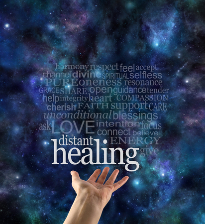 prana: Sending Healing Across Time and Space - female hand with palm open and a distant healing word cloud above with a dark starry night sky background and copy space Stock Photo