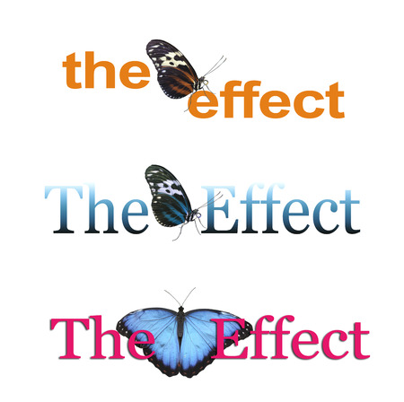 The Butterfly Effect x 3 - three different banners each with THE EFFECT and a butterfly between the two words, one orange, one blue and one pink isolated on a white background