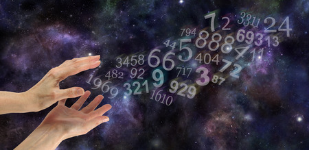 decode: Numerology Practitioner Website Banner - Wide night sky deep space background with multicolored transparent numbers appearing to flow out from a pair of hands in bottom left corner